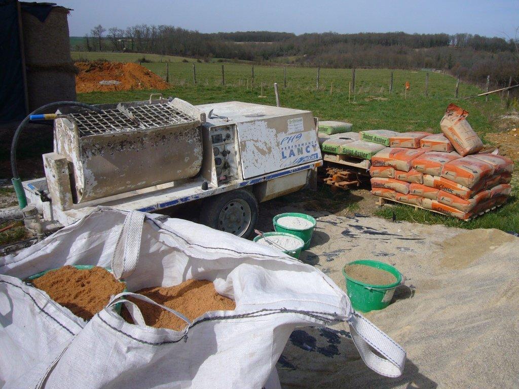 Poste de préparation du mortier